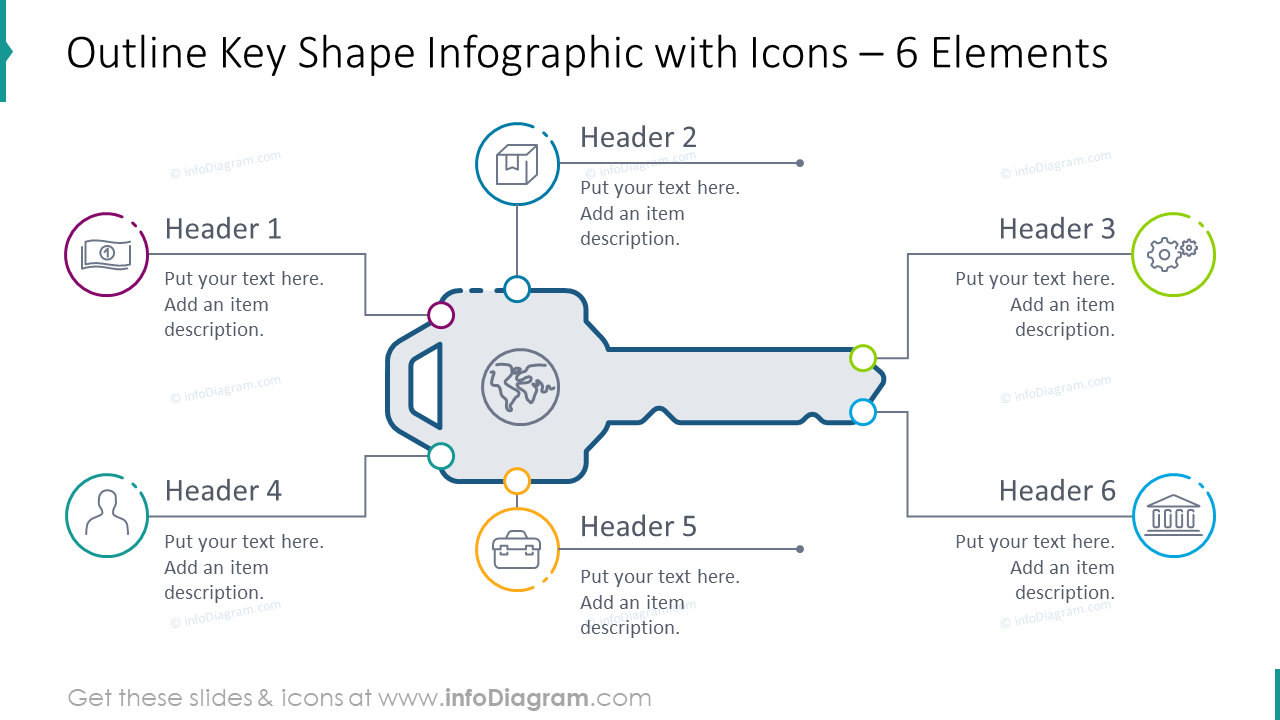 Outline key shape graphics with icons for six items