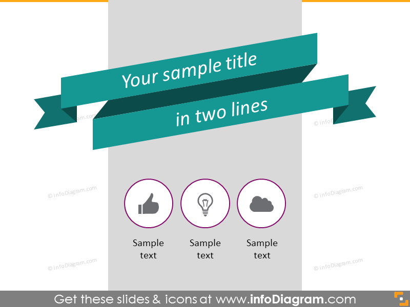 flat double ribbon banner with three descriptive items