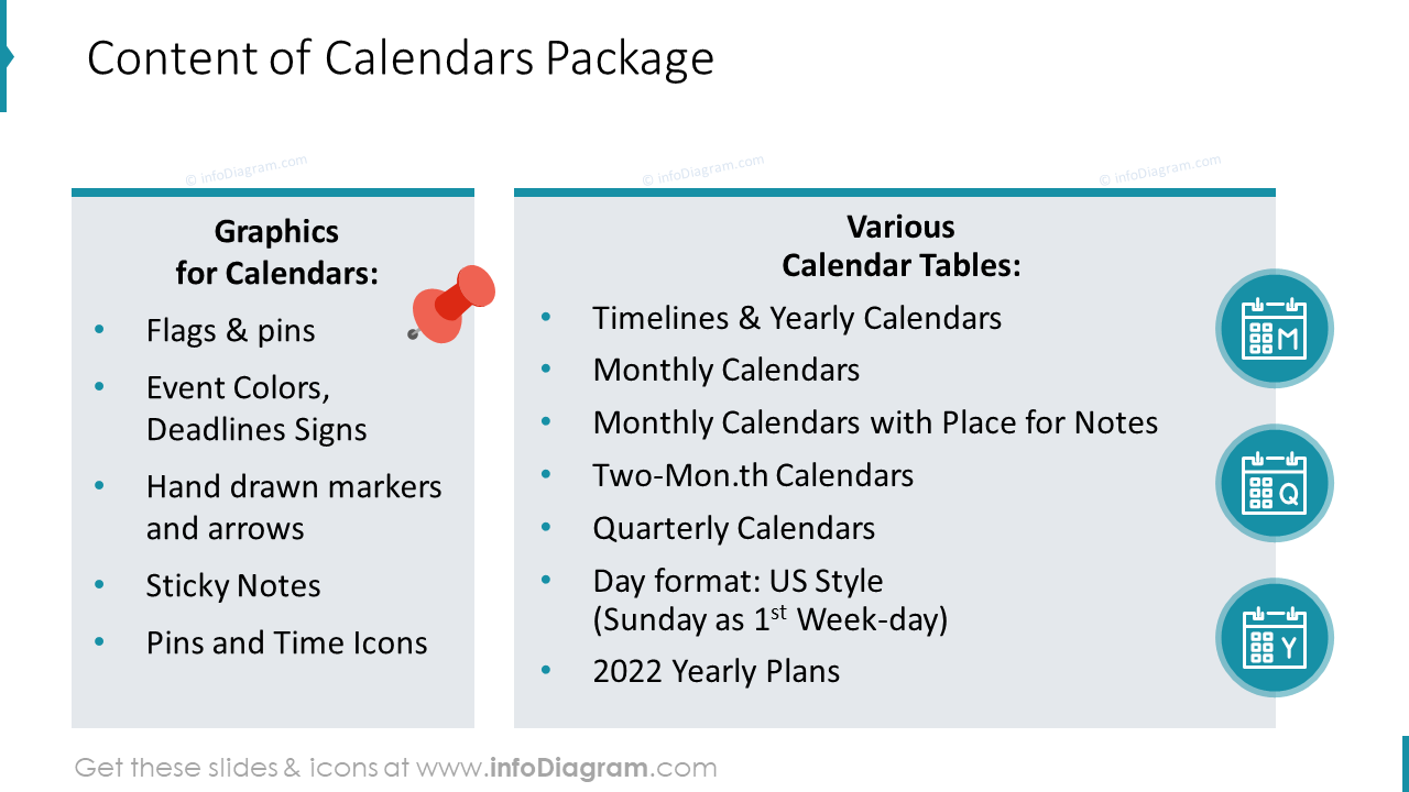 US Calendars Package Content