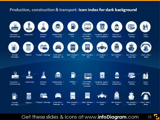 production sectors construction icons dark flat pptx icons