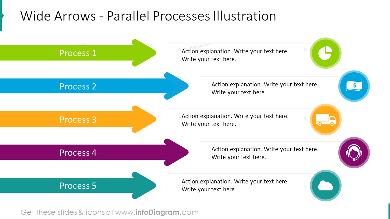 Parallel process illustration showed with wide arrows