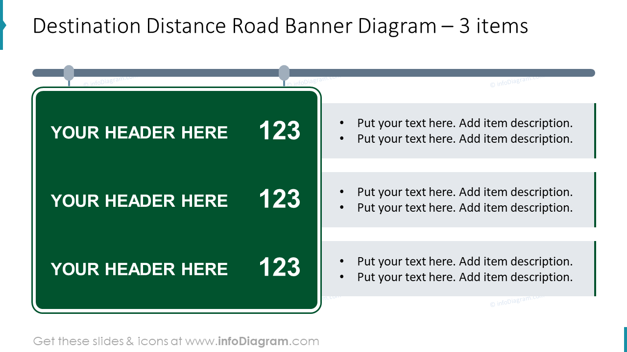 Destination distance road banner diagram