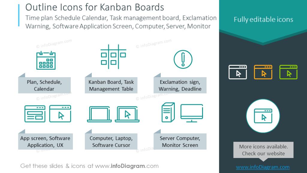 Kanban symbols: Time plan, Schedule, Calendar, Task management board