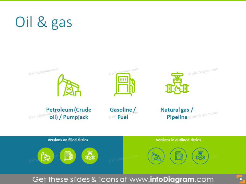 Oil and gas icons: petroleum, gasoline, natural gas