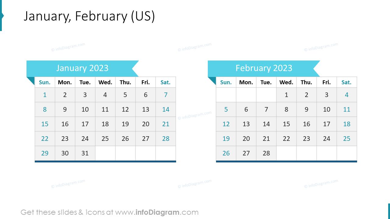 January February 2022 US Calendar