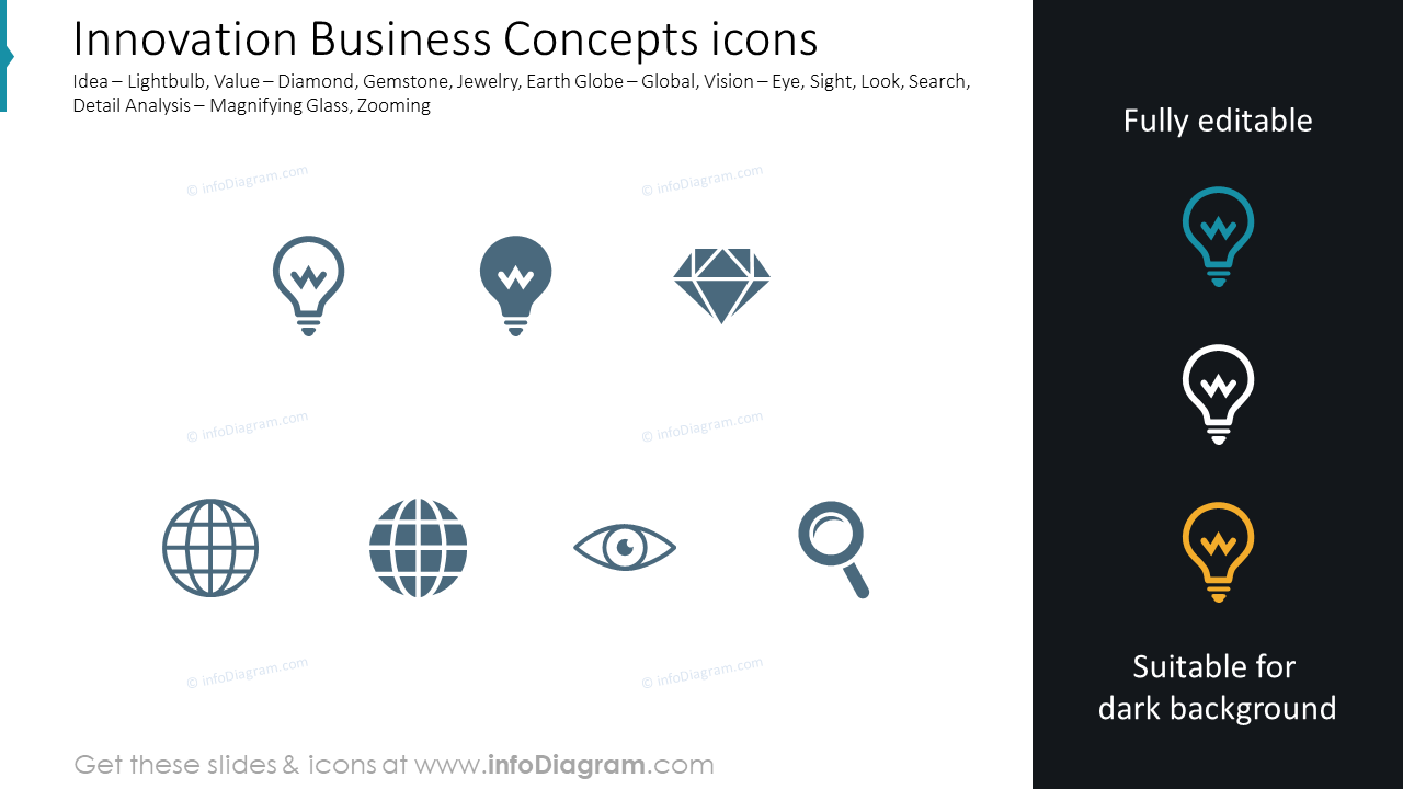 Business Concepts: idea, value, globe, vision, search