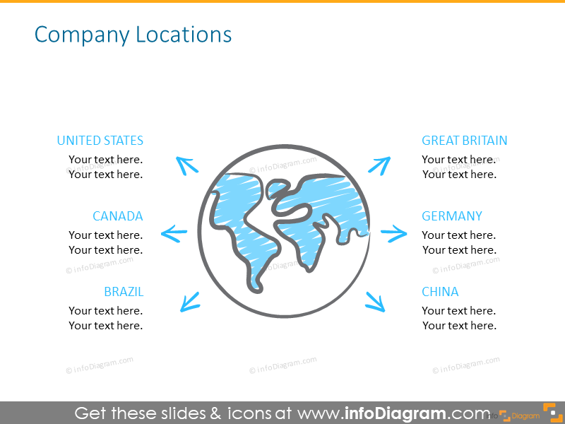 Company's location slide illustrated with globus icon