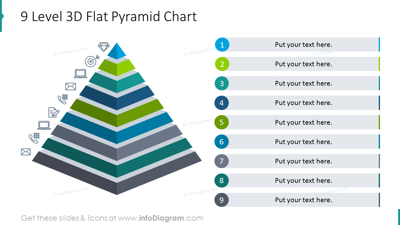 Nine level 3D flat pyramid chart