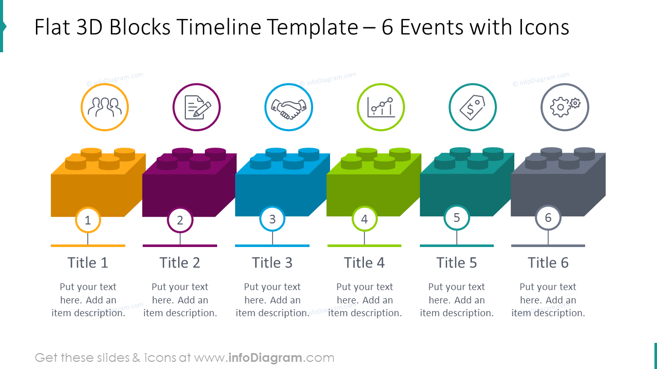 6 events timeline illustrated with outline icons
