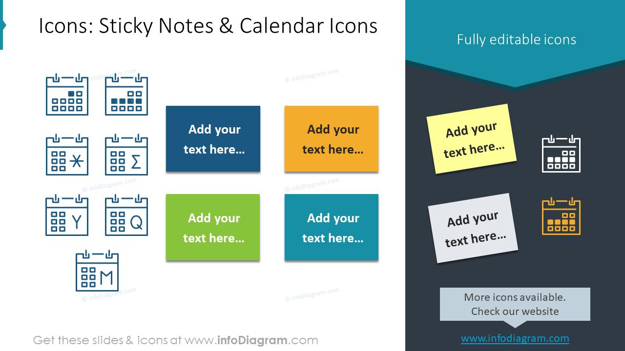 US Caledars Sticky Notes Icons