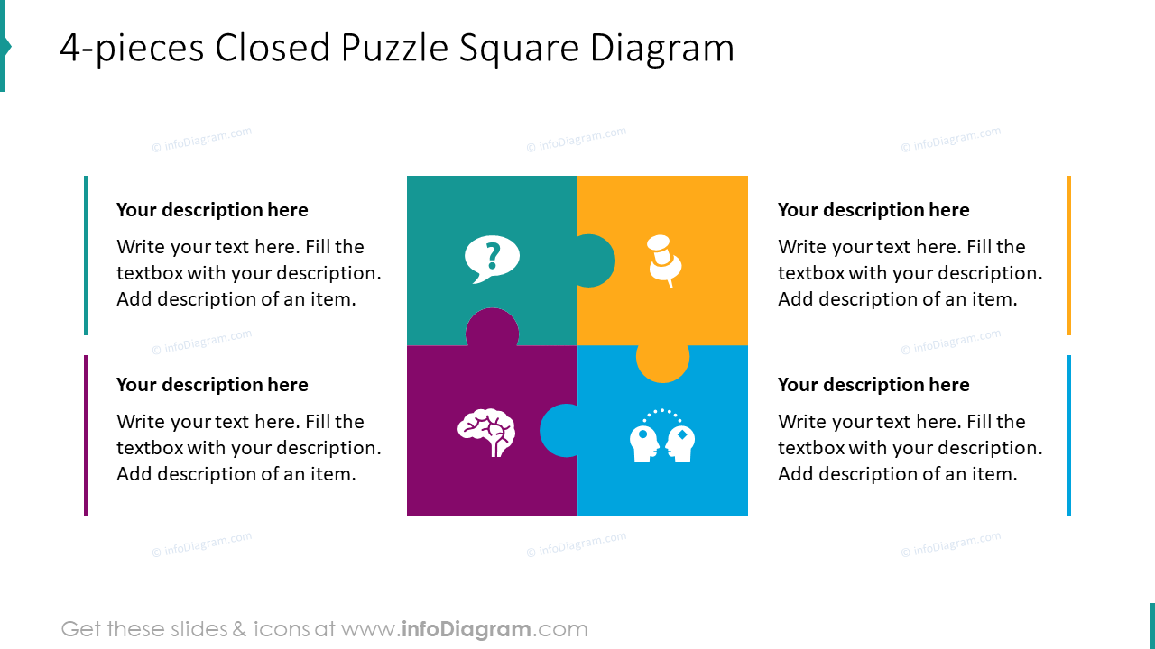 4-pieces closed puzzle square diagram
