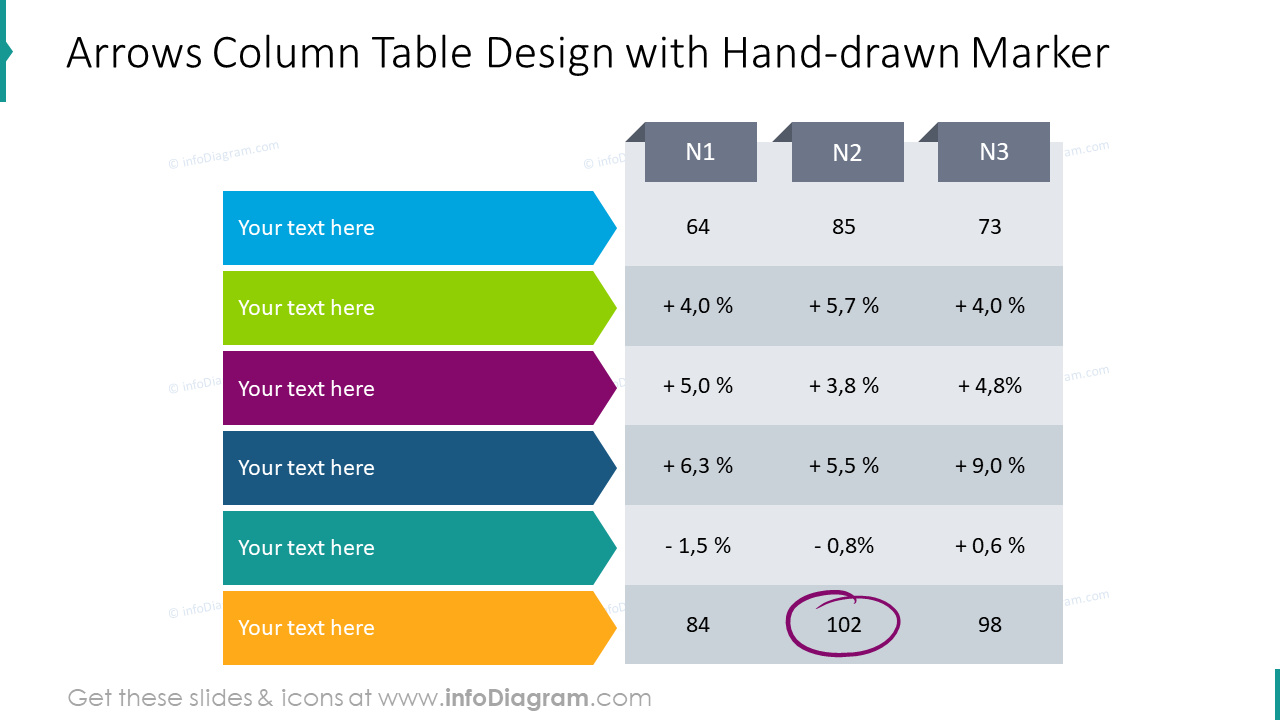 Arrows column table design with hand-drawn marker