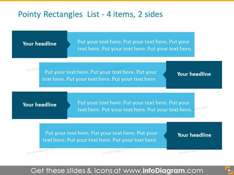 Two sides pointy rectangles list