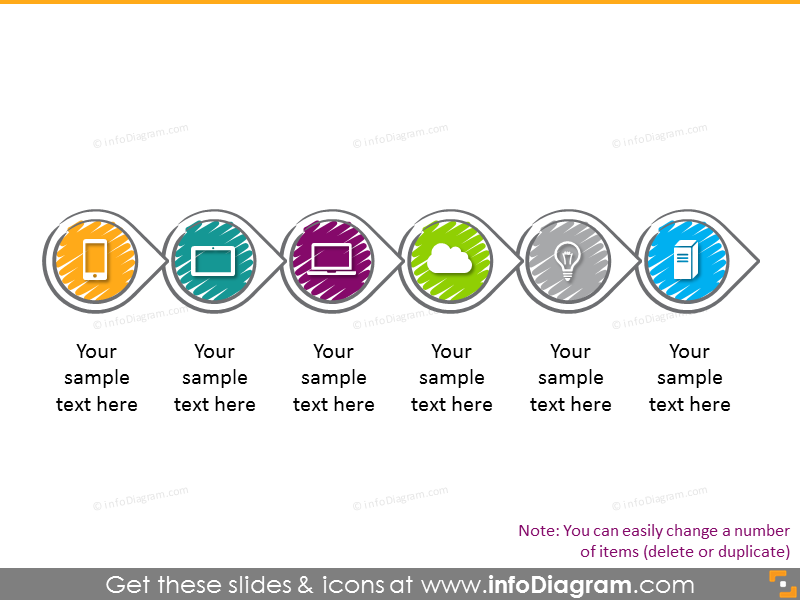 Scribble circles flow chart with 6 items with icons