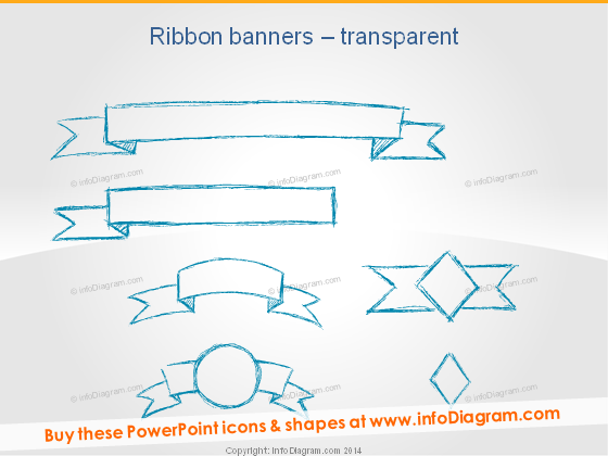 handdrawn banners ribbon infographics titles powerpoint