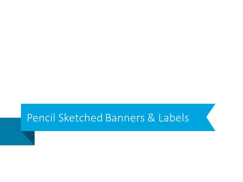pencil sketch banner ribbon label powerpoint edit