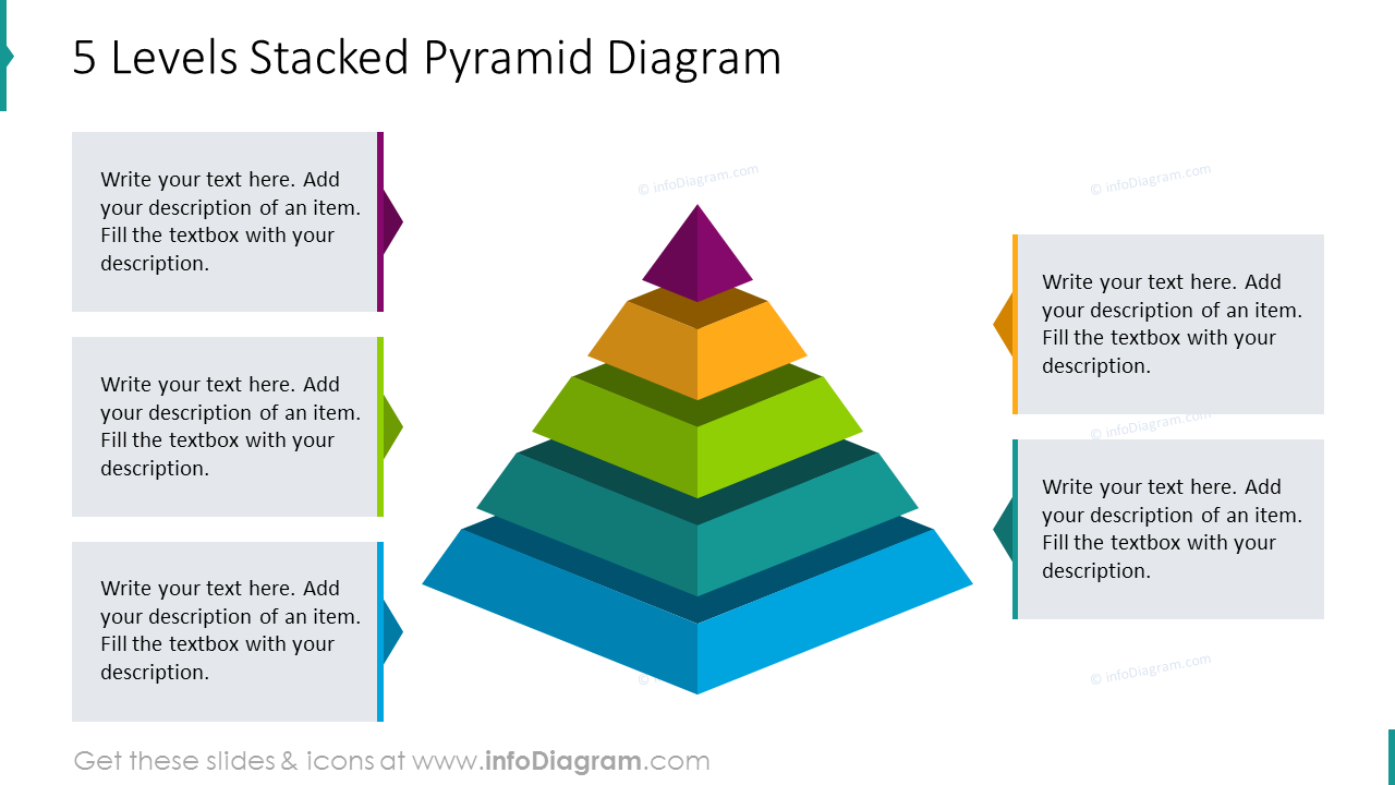 Five levels stacked pyramid diagram