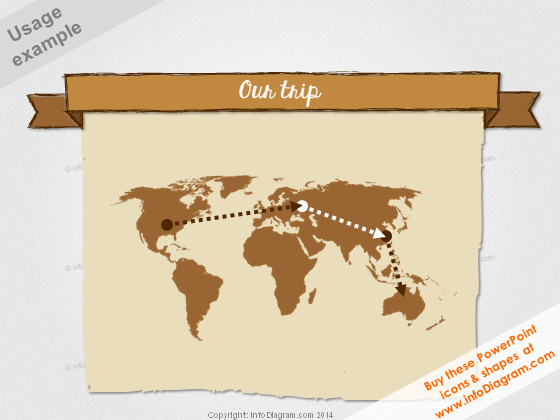 Retro World Map Banner Doodle Trip Power Point clipart