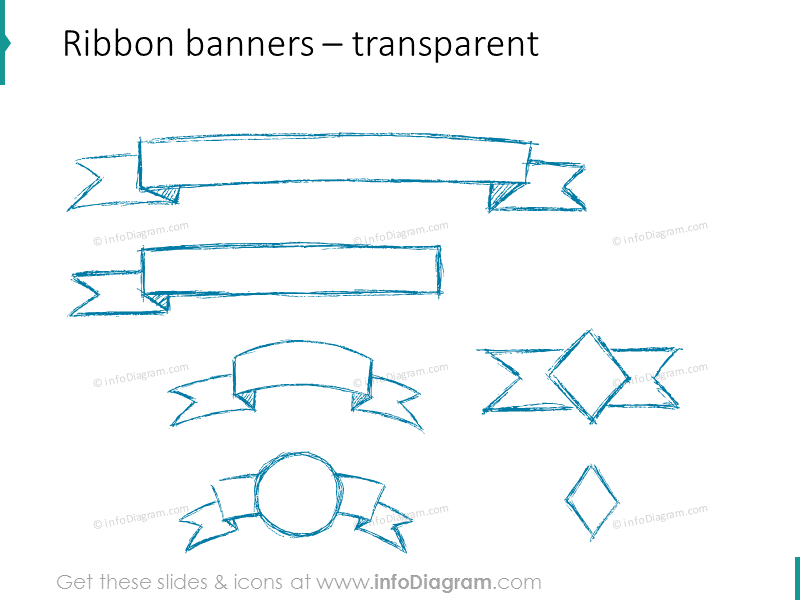sketch ribbon banner pencil powerpoint shapes vector