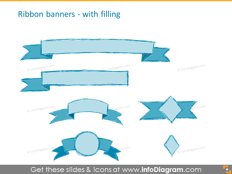 pencil doodle ribbon-banner-infographics-title-ppt