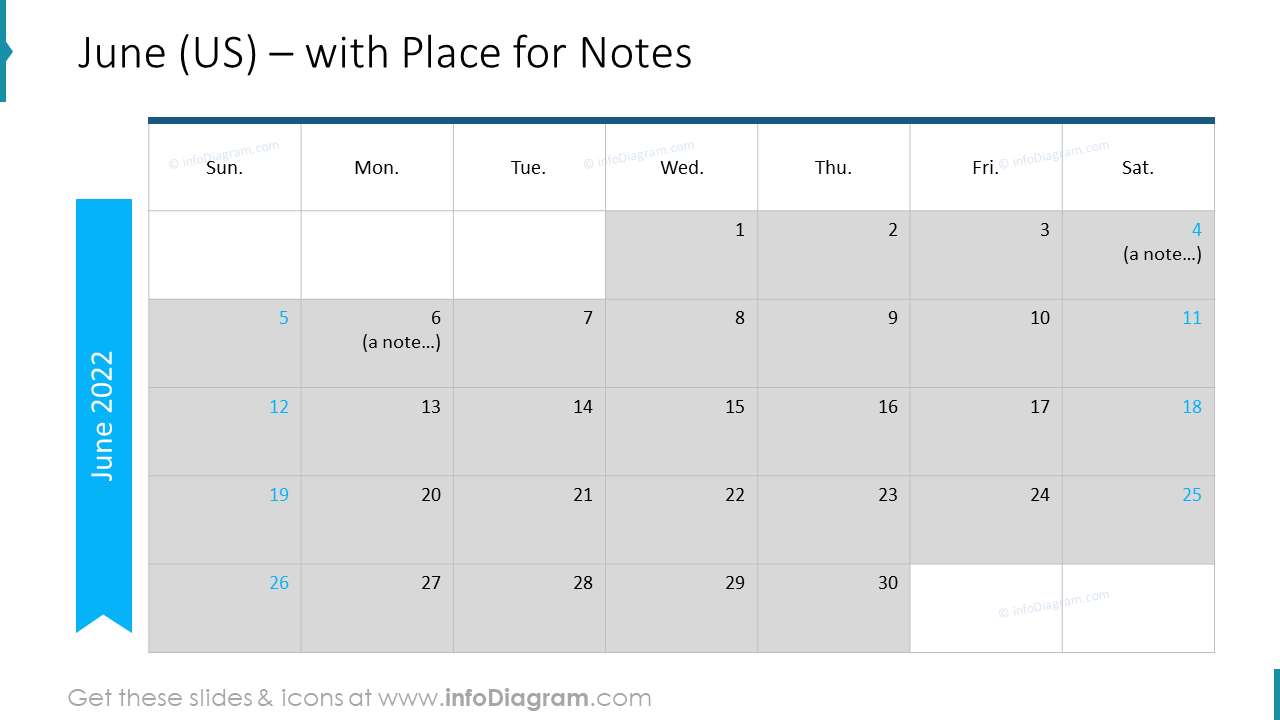 June Calendars 2020 US with notes plan