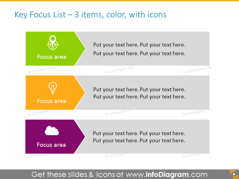 Key Focus List for 3 elements in color, with icons