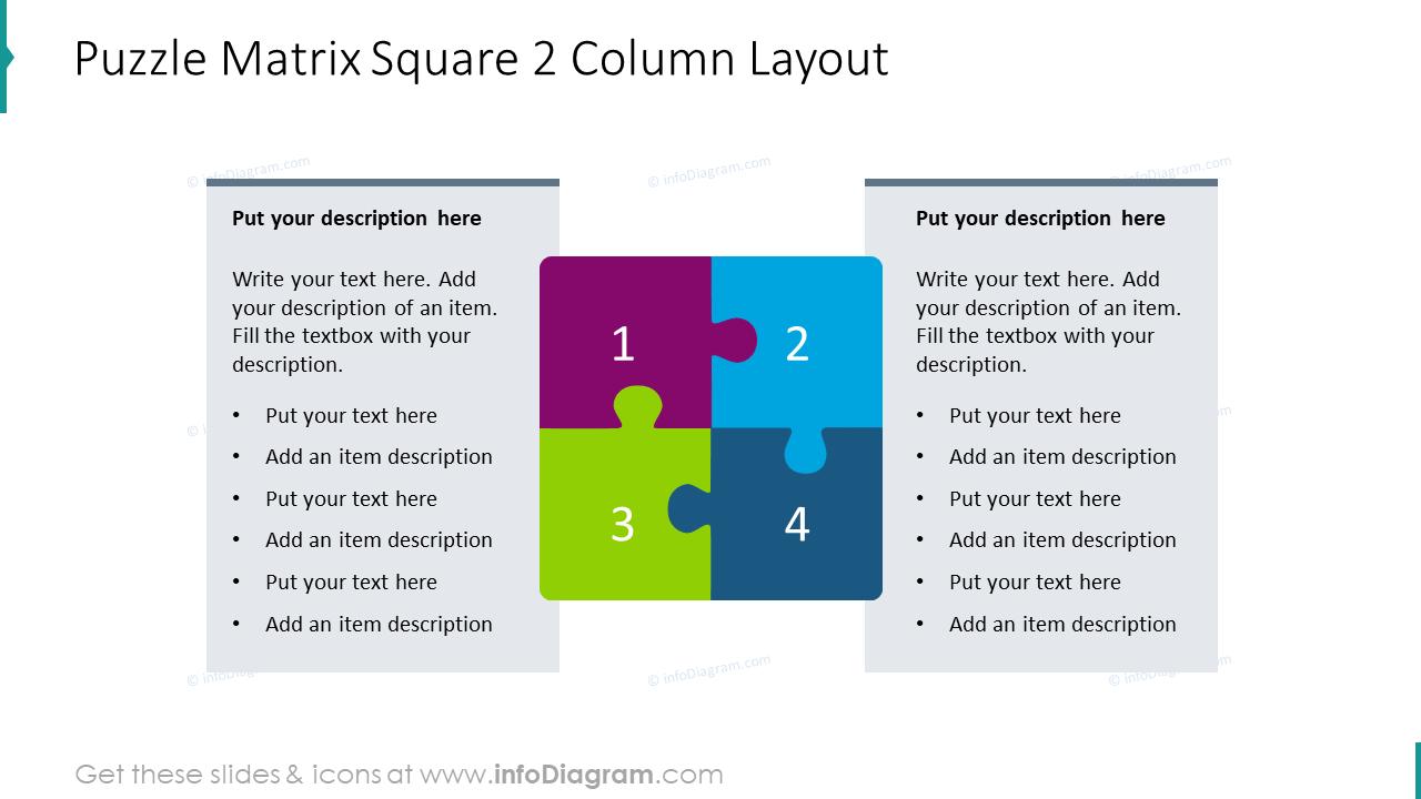 Puzzle matrix square for 2 column layout