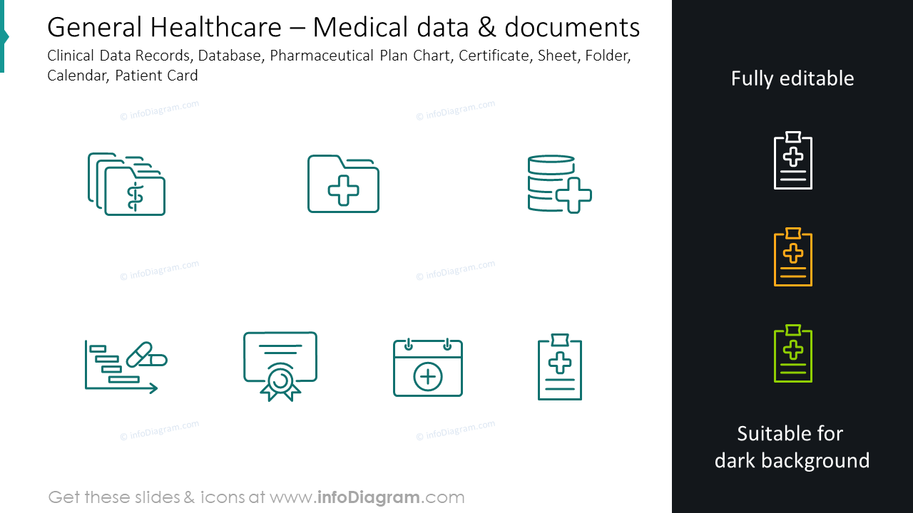 Medical data and documents slide: clinical data records, database