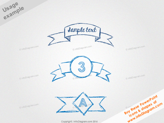 Sketch Banners Outline Pencil Ribbon PowerPoint Titles
