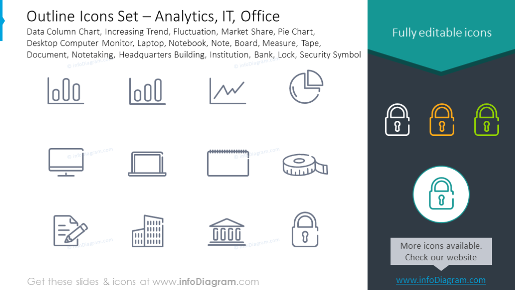 Icons Set: Analytics, Fluctuation, Laptop, Notebook, Measure, Notetaking