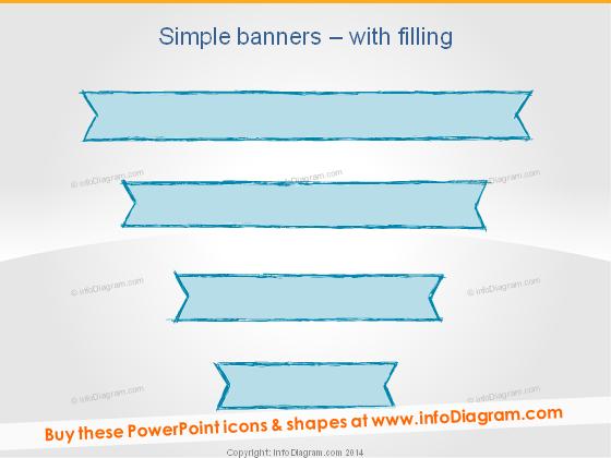 Pencil Banners Retro Stripe Blue slide title ppt sketch