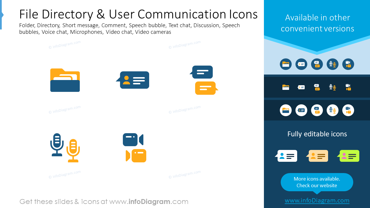 File directory, user communication icons: folder, directory, short message…