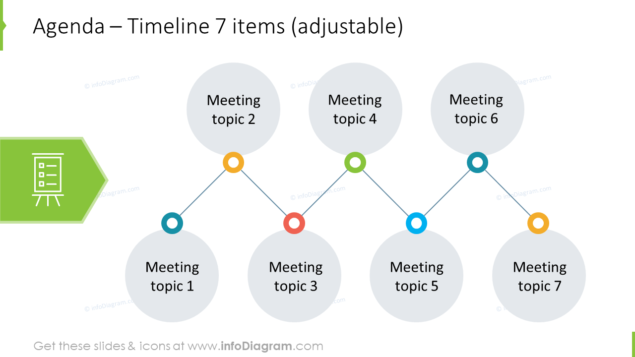 Team meeting agenda template in zigzag form