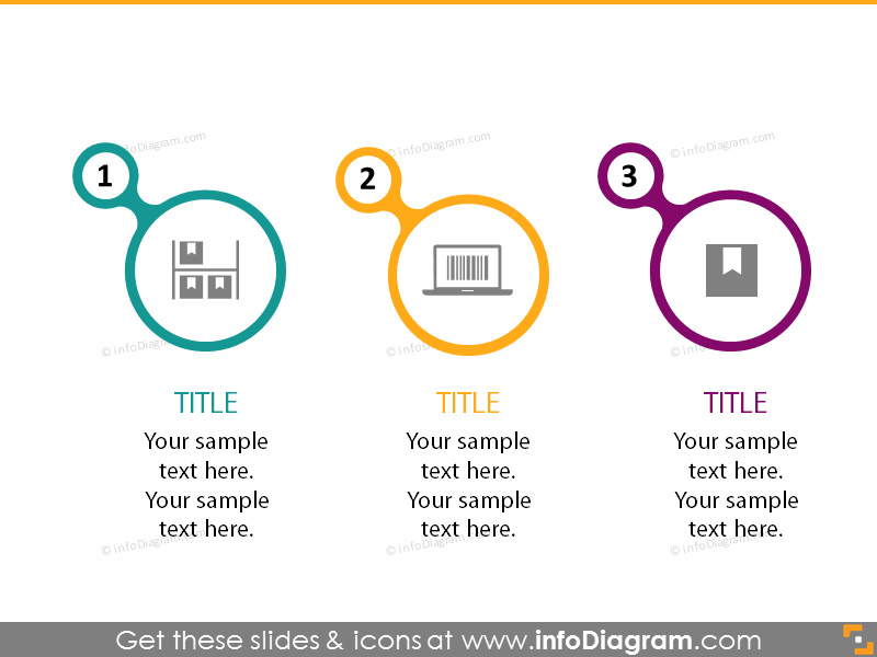 3 circle color infographics professional icons ppt