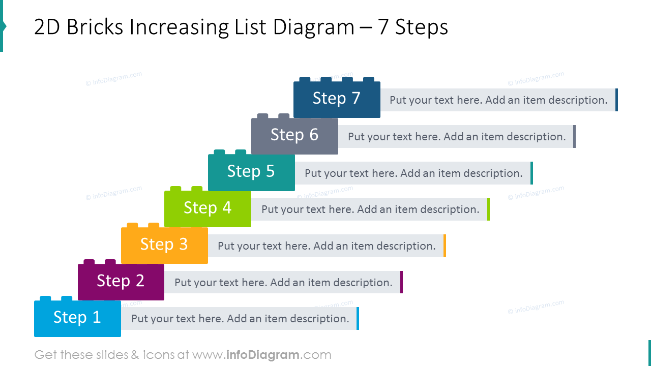 2D bricks increasing list diagram for 7 steps