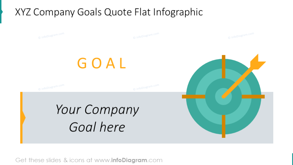 Company goals slide with flat infographic