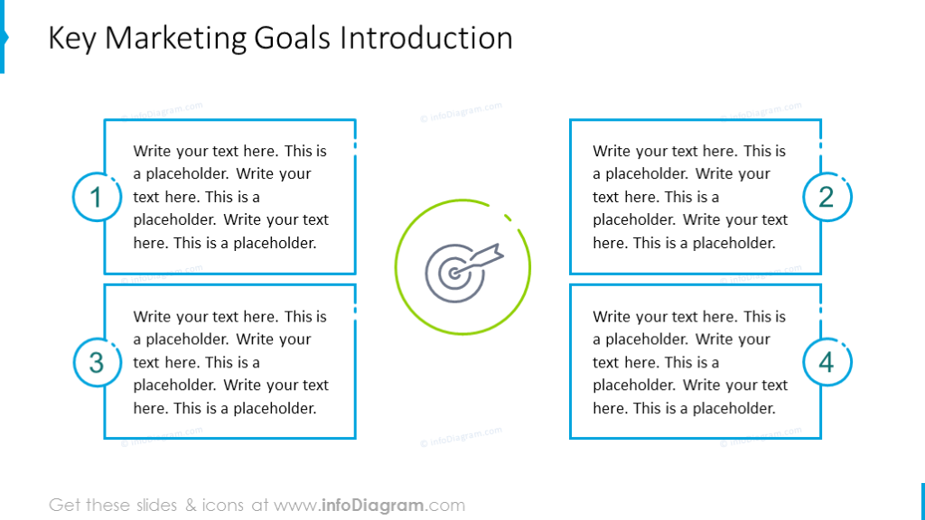 Key marketing goals illustrated with outline graphics
