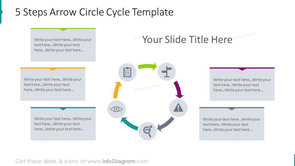 5 steps arrow circle cycle diagram