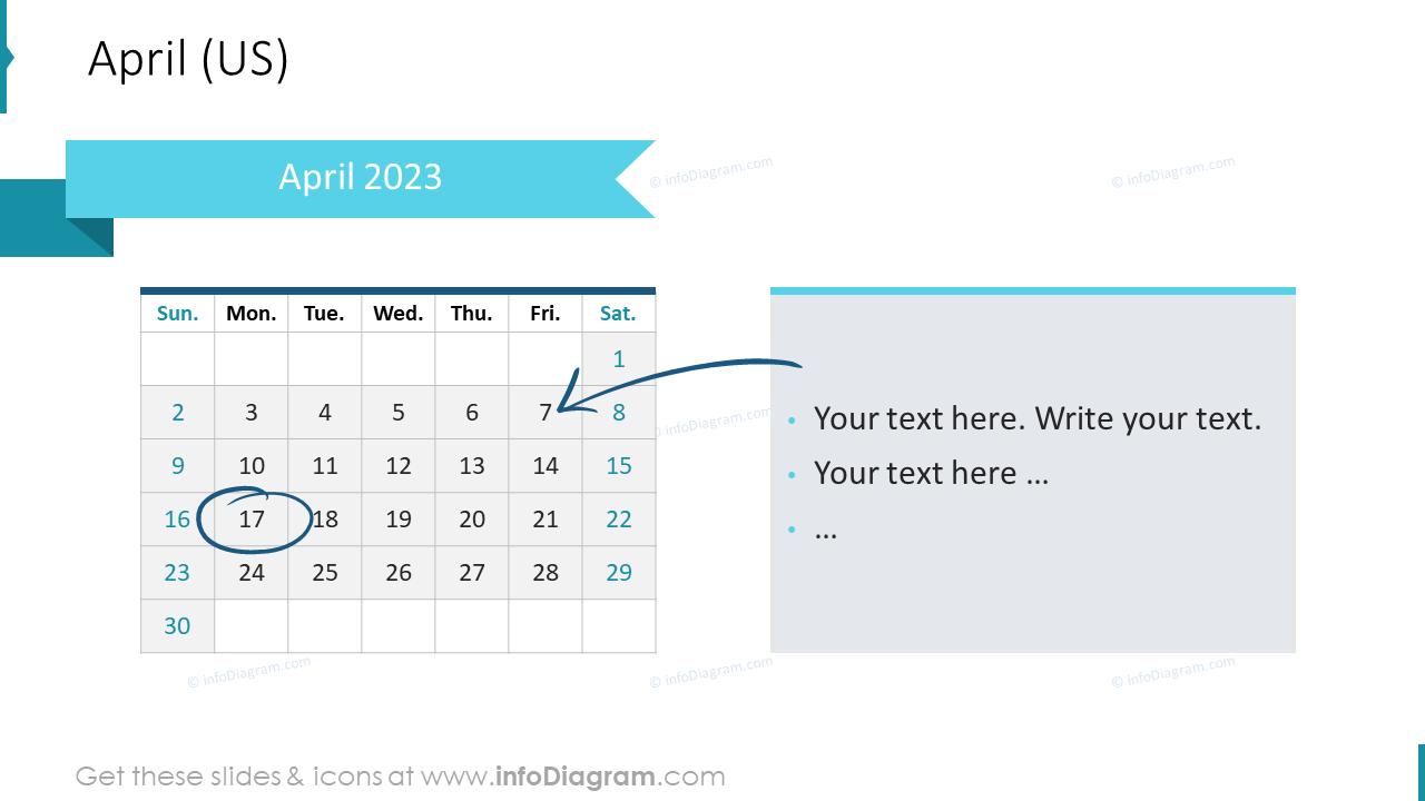 April 2022 US Calendars