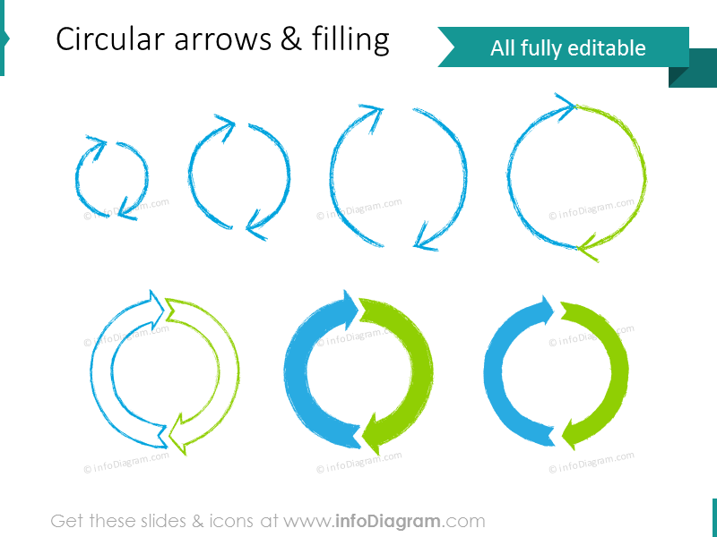 pencil doodle circle arrow cycle powerpoint illustration