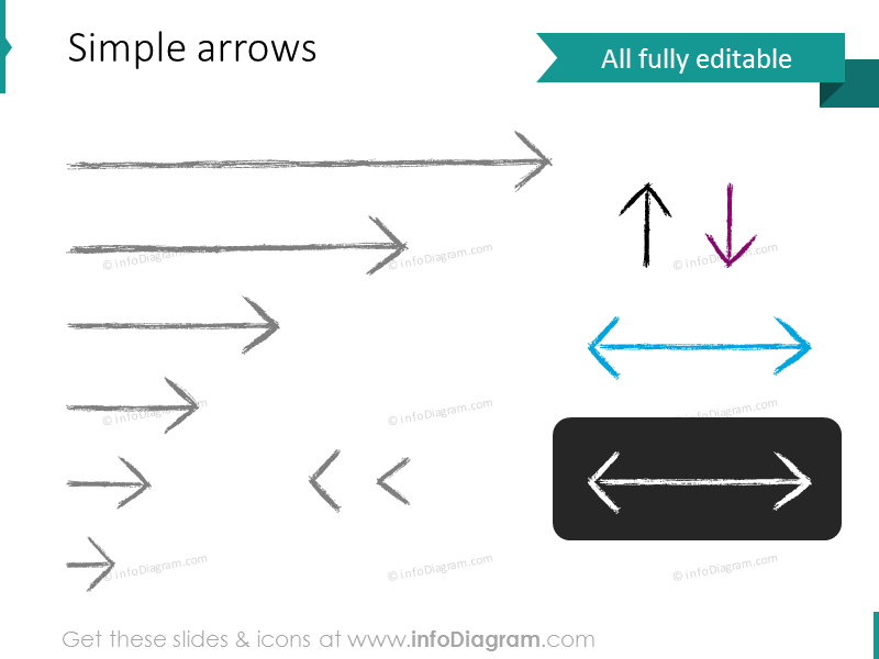 pencil sketch thin arrow straigh long short powerpoint shape picture