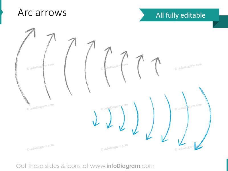 pencil thin arrows powerpoint shape clip art