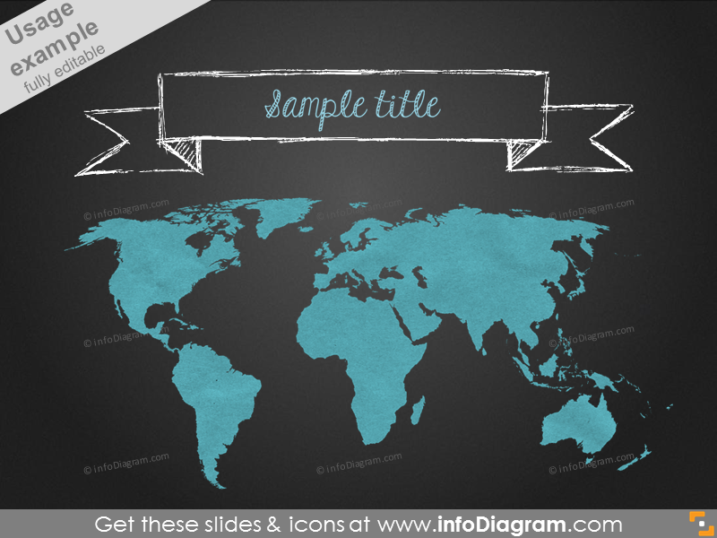 pencil banner world map blackboard ppt icons 195