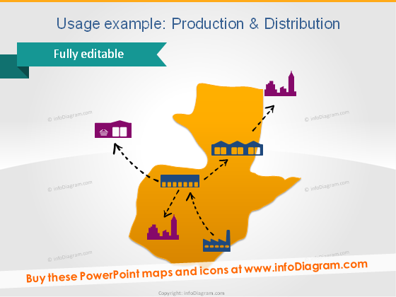 production guatemala distribution routes factory retail ppt icon