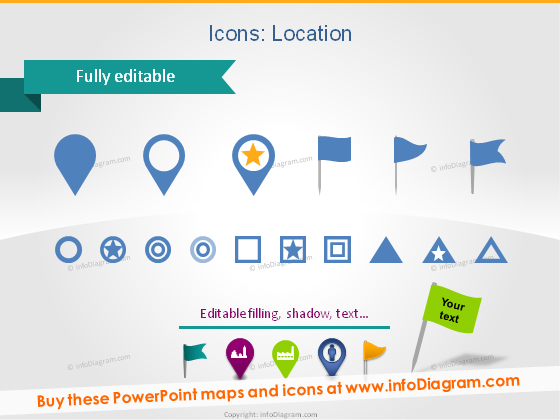 Location Icons Map place flag star point ppt clipart