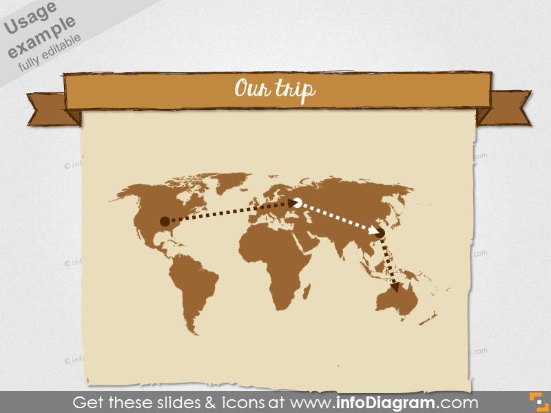 pencil banner world map retro ppt icons 191