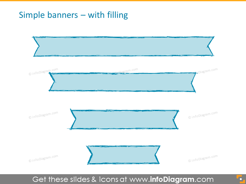 pencil banner handdrawn ribbon retro ppt icons 166