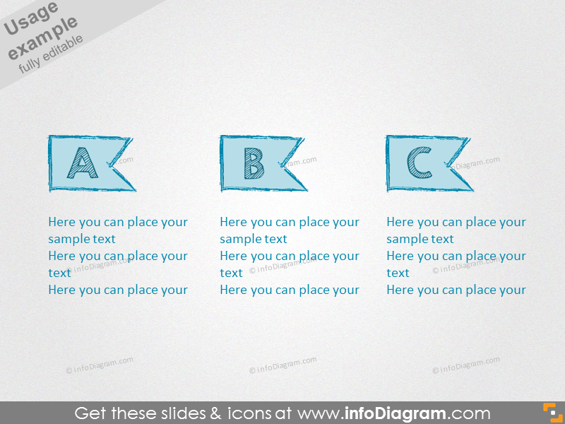 pencil banner drawn ribbon retro ppt icons 183