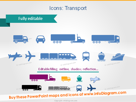 logistics icons truck plane ship train ppt clipart