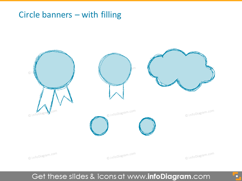 pencil banner handdrawn ribbon retro ppt icons 170